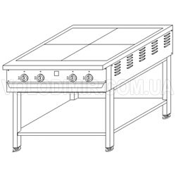 Четырехконфорочная плита на подставке промышленная