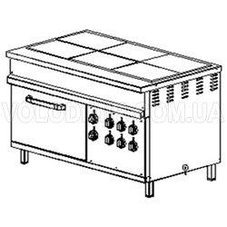Шестиконфорочная плита с жарочным шкафом промышленная