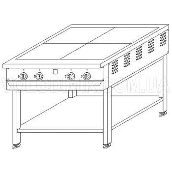 Плита электрическая четырехконфорочная