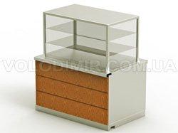 Модуль 3. Витрина холодильная, дверцы и блок с выдвижными ящиками, настольный блок с электророзетками