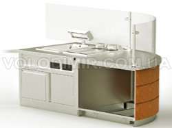 Модуль 3. Встроенная тепловая ванна, электро фритюрница, отделение для мусора, округленная рабочая поверхность
