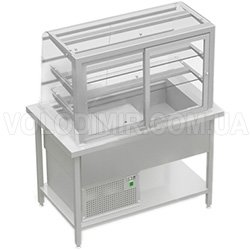 Витрина холодильная с выгнутым стеклом и откидными заслонками