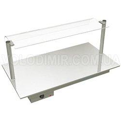 Столешница тепловая с нержавеющей панелью со стеклом
