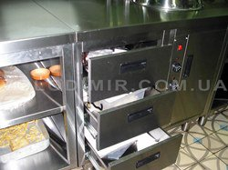 Выдвижные шухляды встроенные в тепловую линию